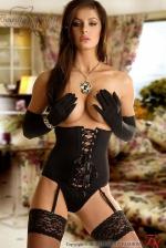 Carmen fekete fűző, erotikus fehérnemű szett