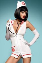 Szexi jelmez, Obsessive Emergency dress, fehér S/M